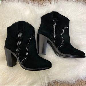 Joie Monte black suede studded western booties